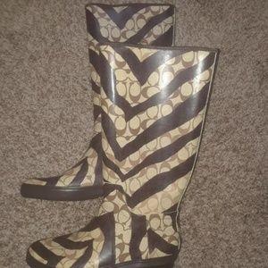 Coach Pammie Zebra Signature Rubber Rain boots